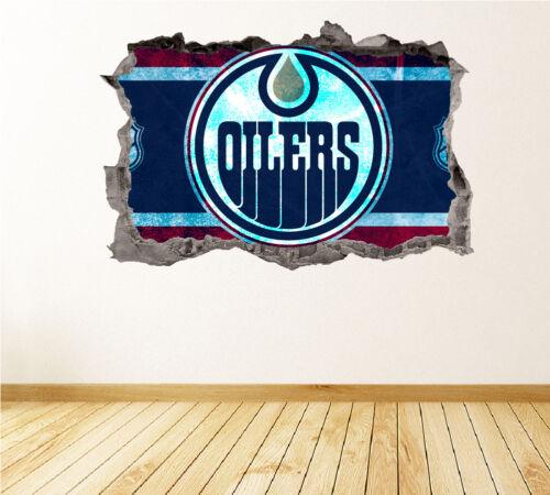 Edmonton Oilers Wall Art Decal équipe de Hockey 3D Smashed Wall Decor WL23