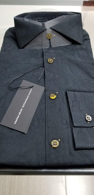 NEW Bogosse Men's size 3 or Medium long sleeve button down shirt, Hidden design