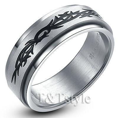 TT 8mm Brushed Stainless Steel Spinner Pattern Ring (R48)