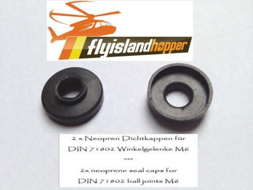 2 x Dichtung / Neopren Dichtkappe für M6 Kugelgelenk / Winkelgelenk DIN 71802