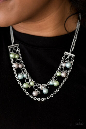 /& white pearls crystal like beads necklace w// earrings Paparazzi blue,green
