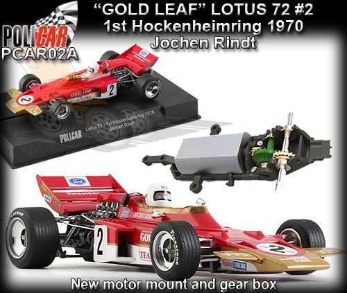 Polibil bil02A Lotus 72 J.Rindt 1970 guld Leaf- klär Scaxtremic slot bil track