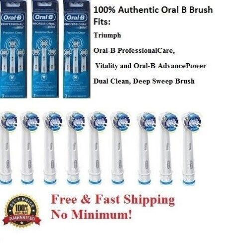 9 Braun Oral B Precision clean toothbrush heads Phillips Brush Authentic EB20-3
