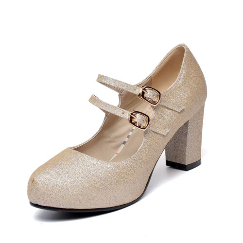 Ladies Mary Janes Shoes Synthetic Leather High Block Heels Pumps UK Size S728