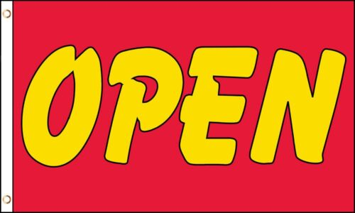 OPEN Yellow on Red Shop Advert Sign Advertising PO 5/'x3/' HEAVY-DUTY NYLON Flag