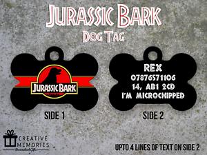 Personalised-Pet-Tag-ID-Tag-Dog-Tag-Bone-Tag-Jurassic-Bark-Theme