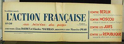 Affiche Royaliste 1929 Action Française Charles Maurras Maurice Pujo Léon Daudet