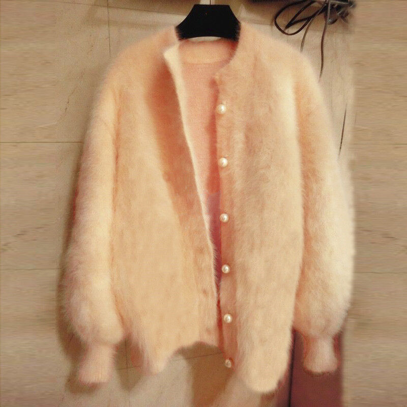 Loose Faux Fur Knitted Cardigan Sweaters Womens Cashmere Blend Coat Outwear