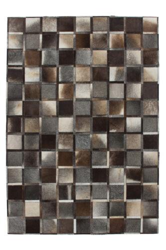 100/% cuir plat tissu fait main gris environ 8 mm pixels encadré Design 80x150cm