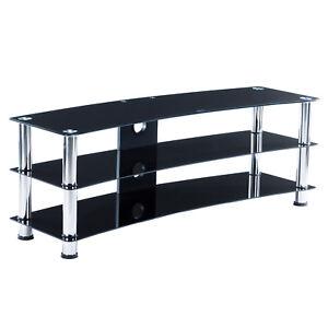 Image Is Loading 3 Tier Shelves Black TV Mount Stand Tempered