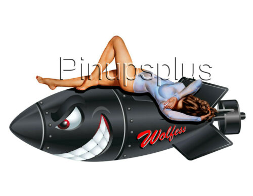 Waterslide Decal Sticker Pinup Girl Bomber Nose Art Smiling Black Bomb Wolfess