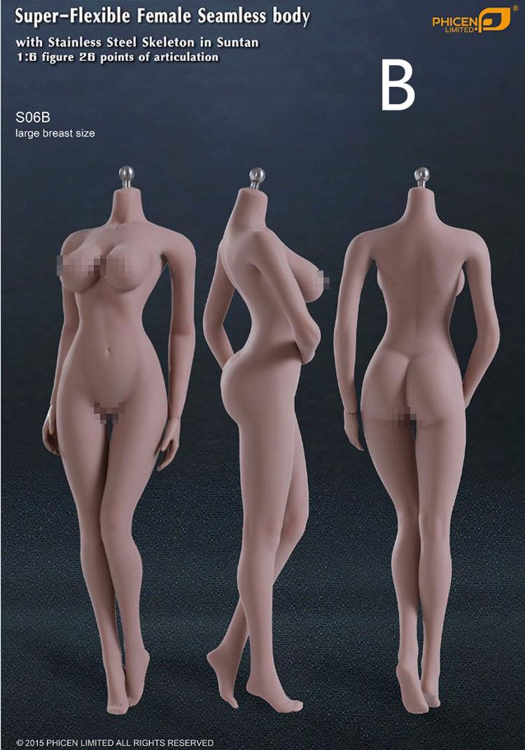 1/6 Phicen Steel bone female body Wheat Farbe Large Seamless Foot S06B