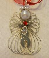 Diabetes Awareness Angel Necklace Handmade On Red Ribbon Necklace Cord