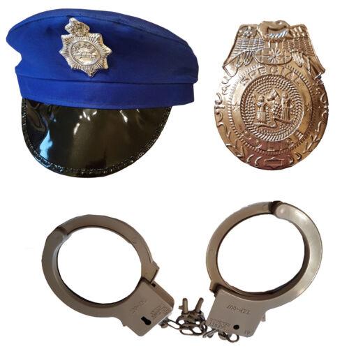 I-courbes ensemble 3 pièces bleu police Chapeau Avec Menottes et Badge Accessoires