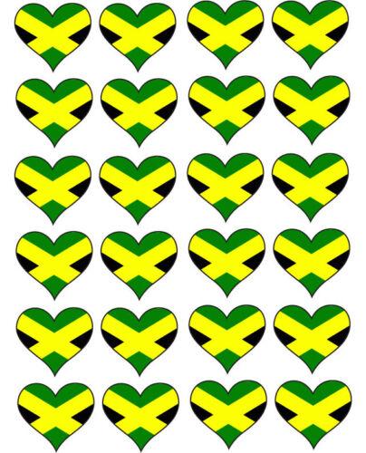 JAMAICAN FLAG IN HEART SHAPE JAMAICA MULTI PACK VINYL STICKERS