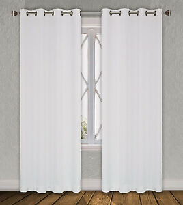 "FAUX SILK  Window Treatments Curtains MIRA GROMMETS 63"" 84"" 95""108""120""  WHITE"