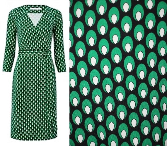 Diane Von Furstenberg SAVANNAH Silk Faux Wrap Dress Leopard Md Green