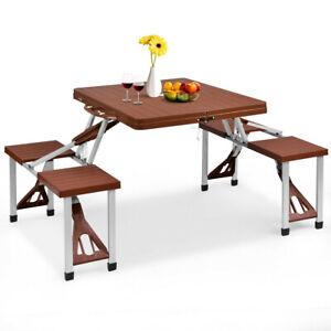 Mesa De Camping Aluminio Plegable Con Juego De 4 Bancos Mesas Y Sillas Plegables Ebay