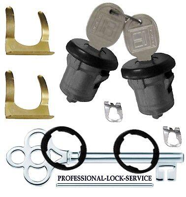 Door Lock Key Cylinder Tumbler Pair 2 Keys Black Camaro 1971-1978 Some 1970