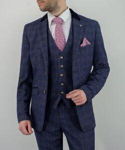 38426c210dff Mens Cavani Mateo 3 Piece Tweed Check Suits Blue Peaky Blinders ...