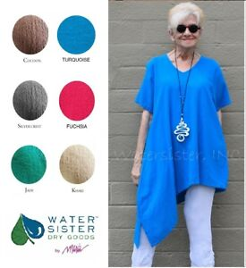 WATERSISTER-Cotton-Gauze-ALOHA-Tunic-Angled-Top-1-S-M-2-L-XL-3-1X-DISC-COLORS