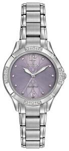 Citizen-Eco-Drive-Women-039-s-Diamond-Silver-Tone-Bracelet-30mm-Watch-EM0450-53X
