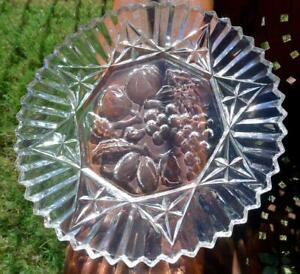Federal-Glass-Clear-Fruit-Pattern-Sawtooth-Edged-Serving-Platter-vintage