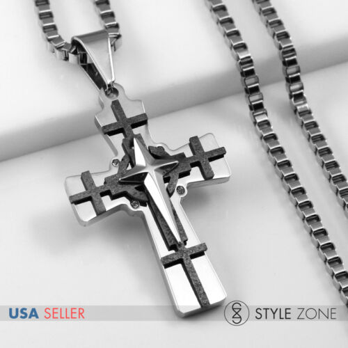 Men/'s Stainless Steel Black /& Silver Cross Pendant w Square Box Necklace Xmas 5F