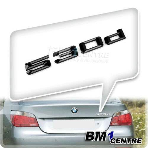 GLOSS BLACK BMW 530D REAR BOOT LETTER EMBLEM BADGE FOR 5 SERIES E60 E61 F10 F11
