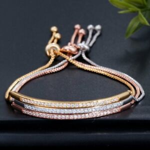 Elegant-Women-Crystal-Zircons-Adjustable-Chain-Bracelet-Bangle-CZ-Jewellery-Gift