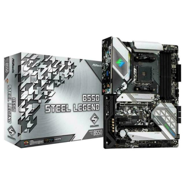 ASRock B550 Steel Legend ATX Gaming Motherboard AMD AM4 DDR4 M.2 HDMI DP USB-C