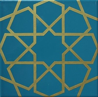 "Iznik Raised Turquoise /& White Geometric Pattern Ceramic Tile 8/""x8/"" 20cmx20cm"