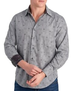 NEW Robert Graham $198 DITTMER Black Skull Print Button Down Sports Dress Shirt