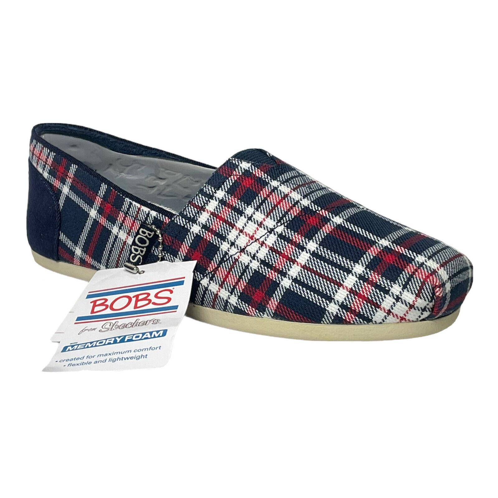 Skechers BOBS Women's Size 5.5 Bobs Plush Plaid Dash Slip-on 32655 Save The Dogs