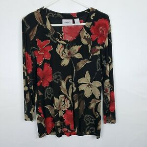 Chicos-Travelers-WOmens-Top-Size-1-M-Floral-Black-Red-V-Neck-Long-L-Sleeve