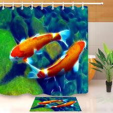Koi carps and lotus Shower Curtain Bedroom Waterproof Fabric /& 12hooks 71*71in