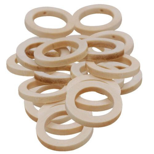 50pcs 30mm Baby Teether Toy DIY Craft Round Circle Beads Wood Teething Rings