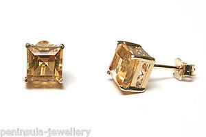9ct-Gold-Citrine-Stud-earrings-Gift-Boxed-Studs-Birthday-Gift-Made-in-UK