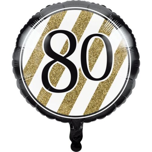 Black and Gold 80th Birthday Foil Balloon 80 Birthday Party Decoration