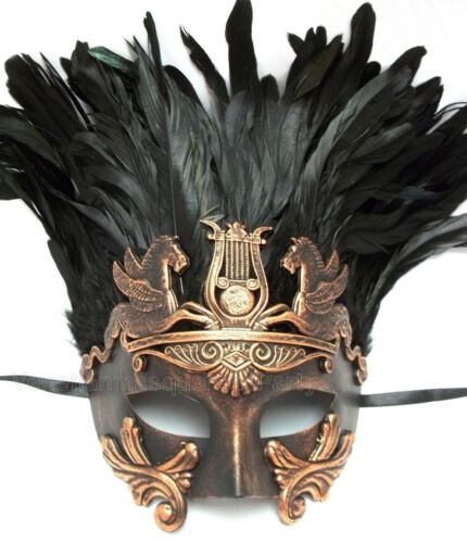 For man Costume Party Copper Silver Roman Gladiator Thor Masquerade Feather Mask