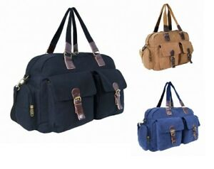 Image is loading Outdoor-Canvas-Holdall-Leather-Trim-Travel-Shoulder-Straps- 60bd1e1a69df3