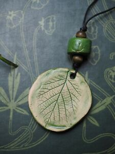 Ceramic-Hazel-Leaf-Pendant-On-Cord-Wisdom-Ogham-Pagan-Wicca-Witchcraft
