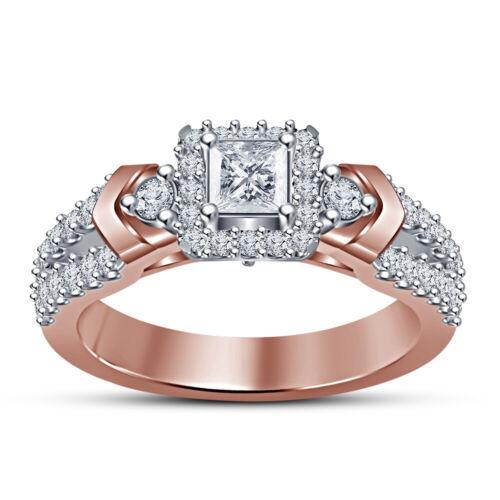 Ladies 14K Rose Gold Finish Princess Cut Halo Diamond Engagement & Wedding Ring