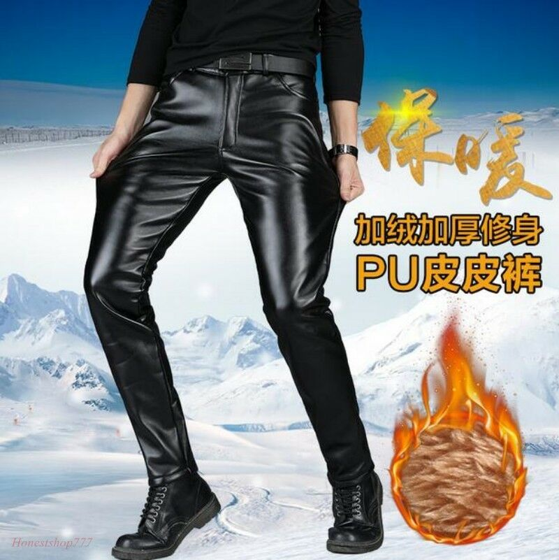 6db0ecfe43b689 Men Faux Leather Pants Trousers Warm Motorcycle Winter Windproof Warm Pants  Hot