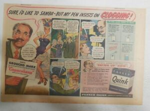 Parker Pen Ad: Quink Ink Groucho Marx ! 1940' Size: 7.5 x 10 inches