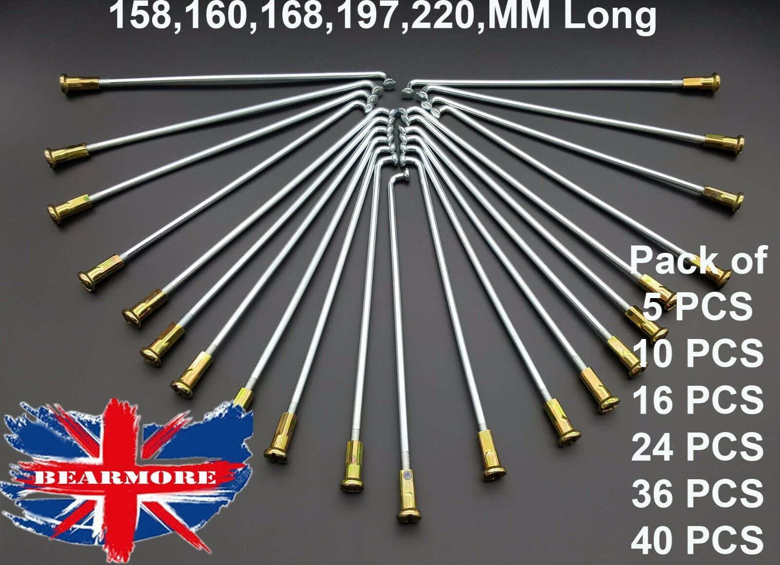 158MM ,160MM,168MM,197MM,220MM, LONG MOTORCYCLE WHEEL SPOKES & NIPPLES  KIT SPOKE  store sale outlet