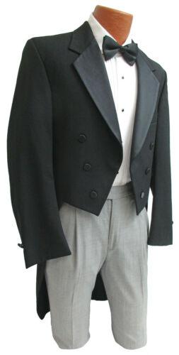 Boys Black Tuxedo Tailcoat with Satin Notch Lapels Wedding Ring Bearer Costume