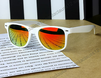 Wayfarer Classic Sunglasses White Frame Mirror Lenses  Mens Women's UV400