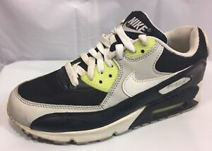 7d8ae202279cc1 Nike Air Max 90 Kids White green yellow-gray black 307793-061 Size ...