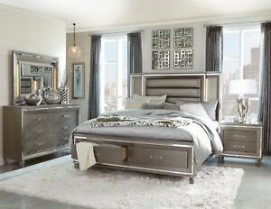 Silver Grey Mirrored Led Lights King Footboard Storage Bed Bedroom